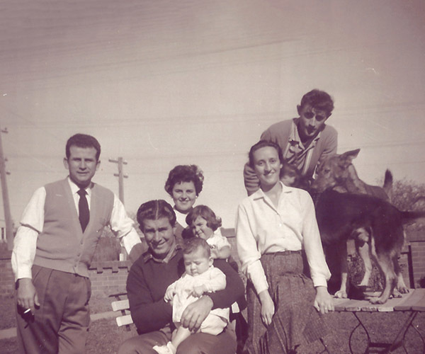 Family snapshot in late 1950's
